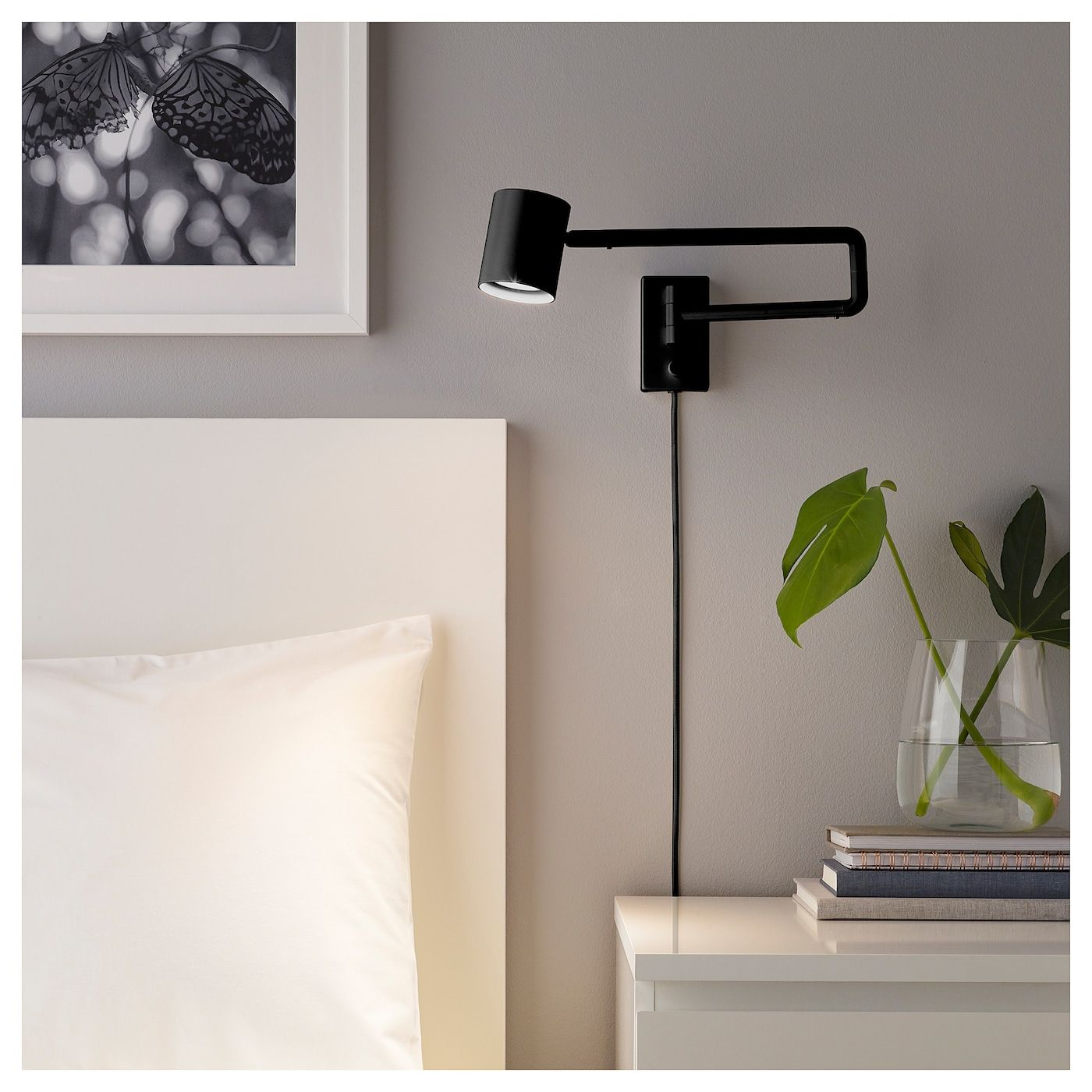 Nymane Wall Lamp With Swing Arm Led Bulb Anthracite Ikea Bedside Wall Lamp Wall Lamps Bedroom Wall Lamp