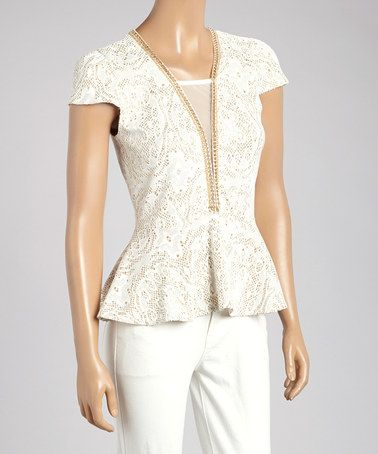 Love this White & Gold Sheer Peplum Top by flamingo on #zulily! #zulilyfinds