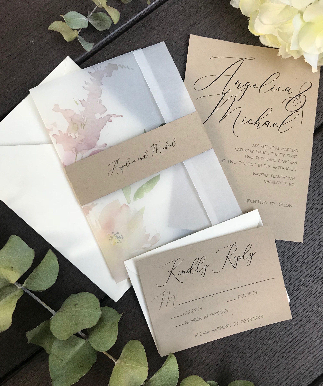 Ethreal Blooms wedding Invitation suite, Water Color Invitation, Eco ...