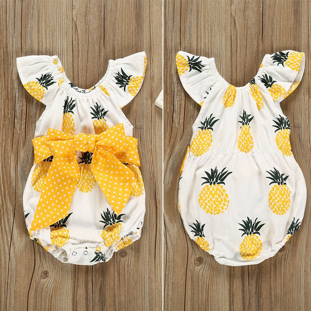Newborn Baby Girl Clothes Cute Pineapple Print Ruffles Yellow Bow Romper Summer Outfits