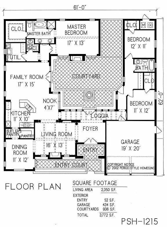 Floor Plan At Almost 20 Metres Square Courtyard House Plans Spanish Courtyard House Floor Plans