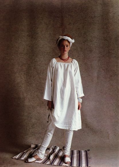 From British Vogue 1981.  Love the shape of the tunic and leggings.