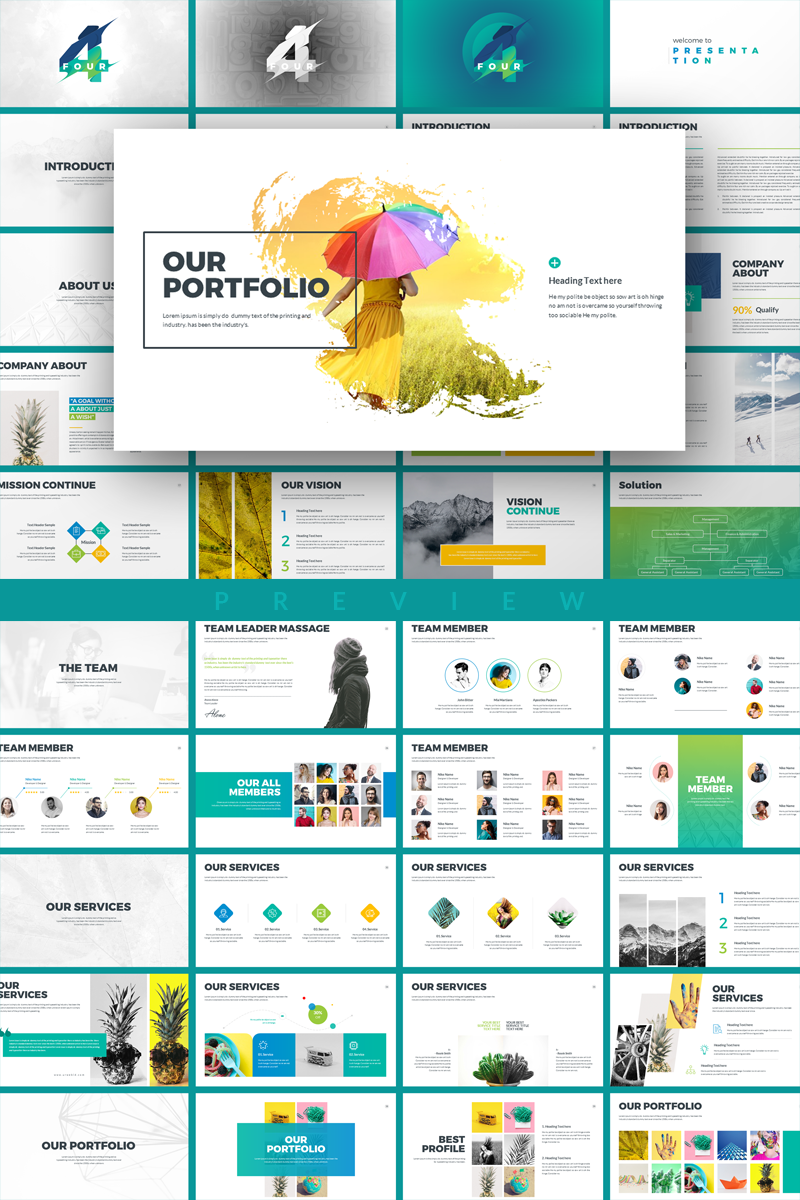 multipurpose modern powerpoint template textures painting