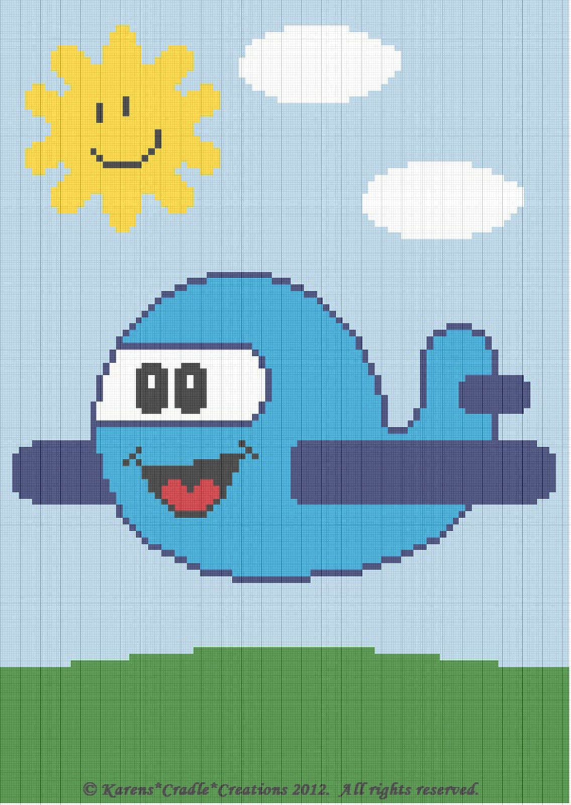 Crochet Patterns Airplane Baby Afghan Graph Pattern Chart