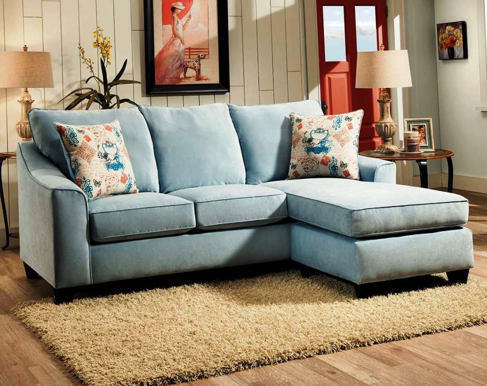 Small Deep Sectional Sofa   Blue couch living room ...