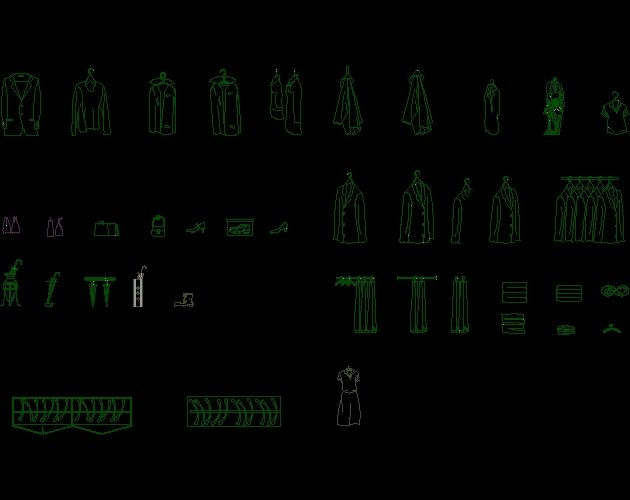 Clothing CAD block free download-AutoCAD Blocks-Crazy 3ds