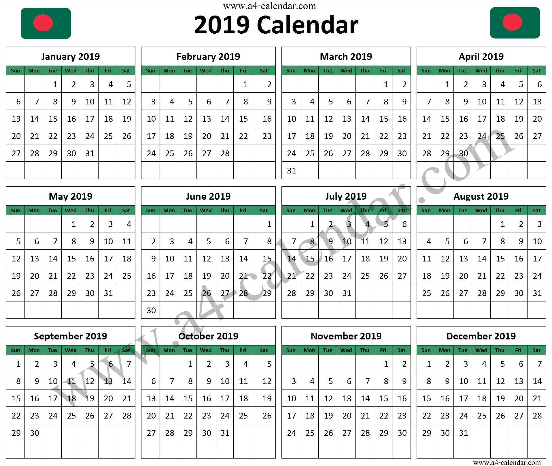 Calendar 2019 Bangladesh Calendar 2019 Calendar