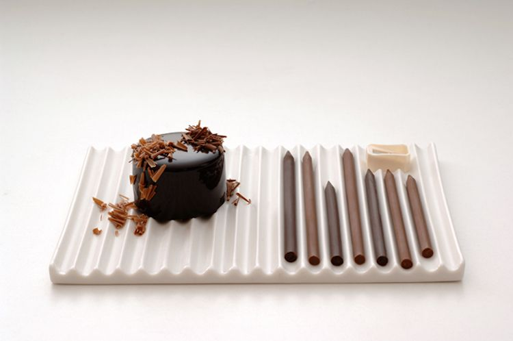 Nendo created chocolate-pencils as a collaboration project with the Japanese patisserie Tsujiguchi Hironobu. #chocolate #pencil