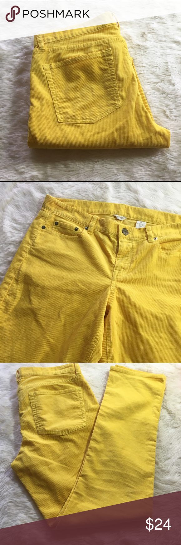 JCrew 30S City Fit Yellow Corduroy Pants This would be a great pop of color to your closet - pair with dark tops and bulky sweaters and wear with tall or ankle boots. Bright yellow corduroy pants. City fit. 30S size - short but actually inseam is 30 inches. Please let me know if you have questions. Offers and offers and bundles welcome! J. Crew Pants Straight Leg