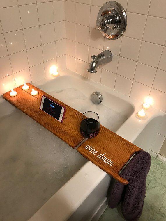 Reclaimed Solid Wood Bath Bar Tray Caddy Rack Shelf Tablet Mobile Phone Holder Ebay Wooden Bathtub Bath Tray