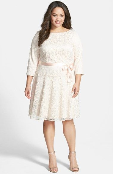 Tahari Flocked Lace Drop Waist Dress Plus Size Available At