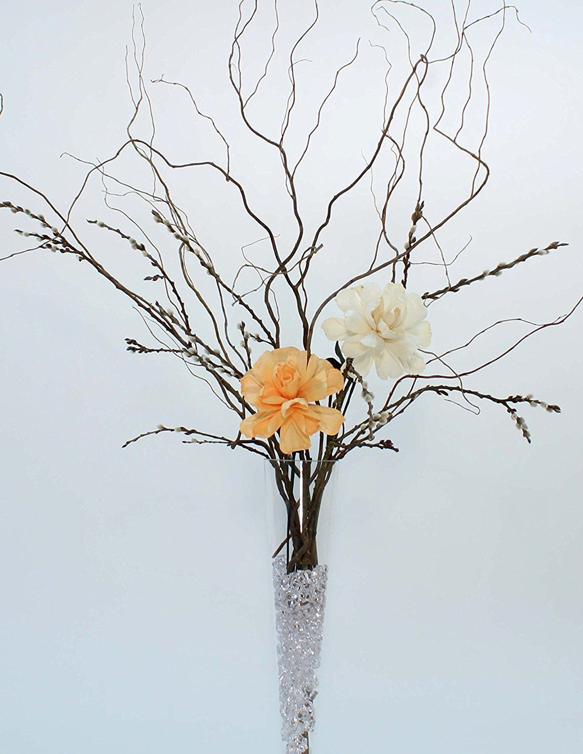 Green Floral Crafts DIY Giant Peach and White Peonies, Curly Willow ...