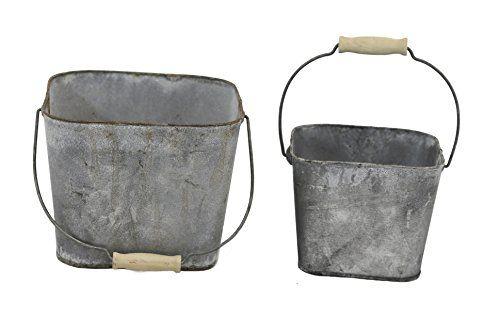 Gray Zinc Square Pail Set Of 2 Pail Zinc Square