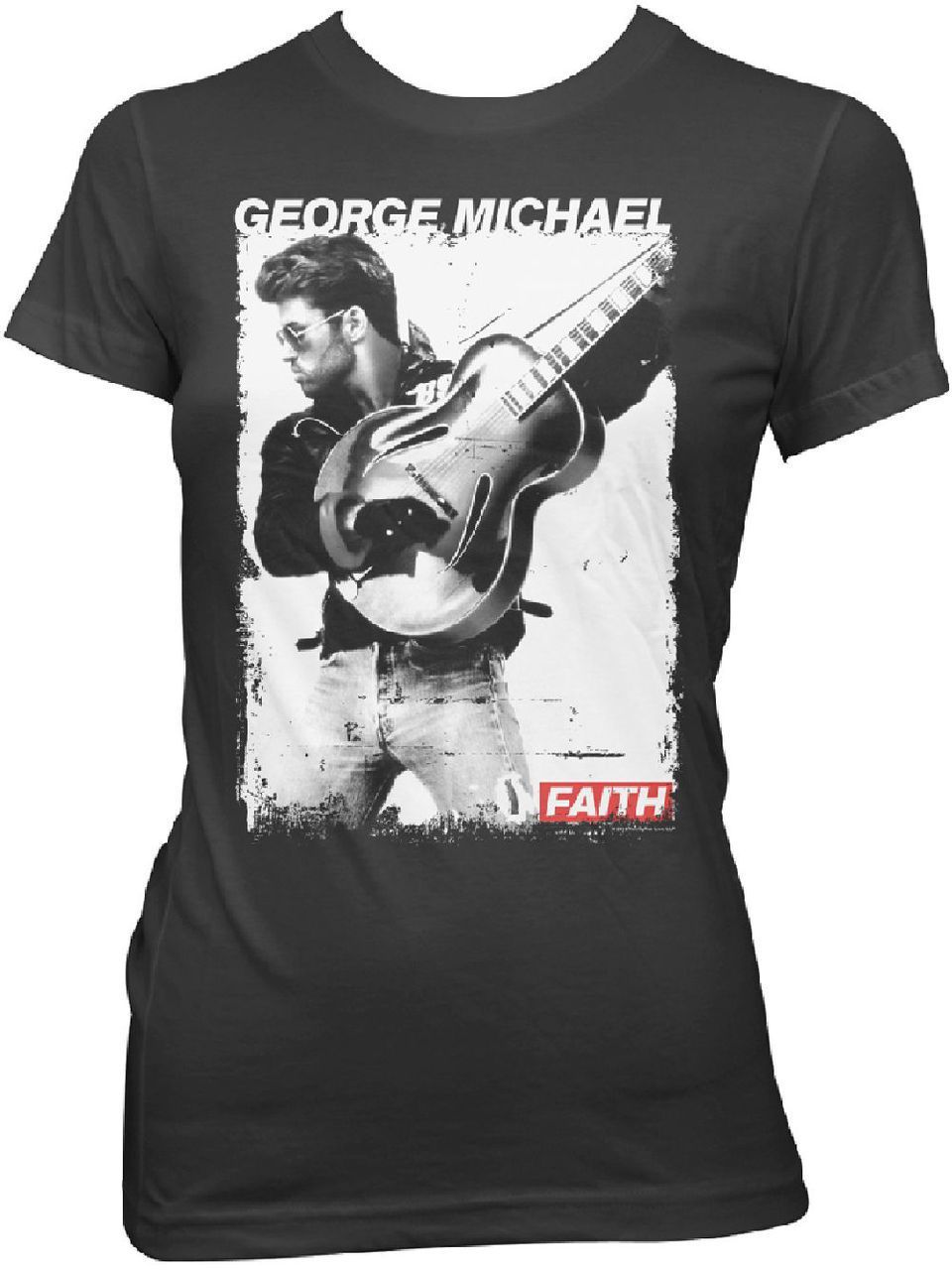 cd68dcce This ladies' George Michael t-shirt features a black and white still  photograph of George from his music video for Faith. Released in 1987, on  George ...
