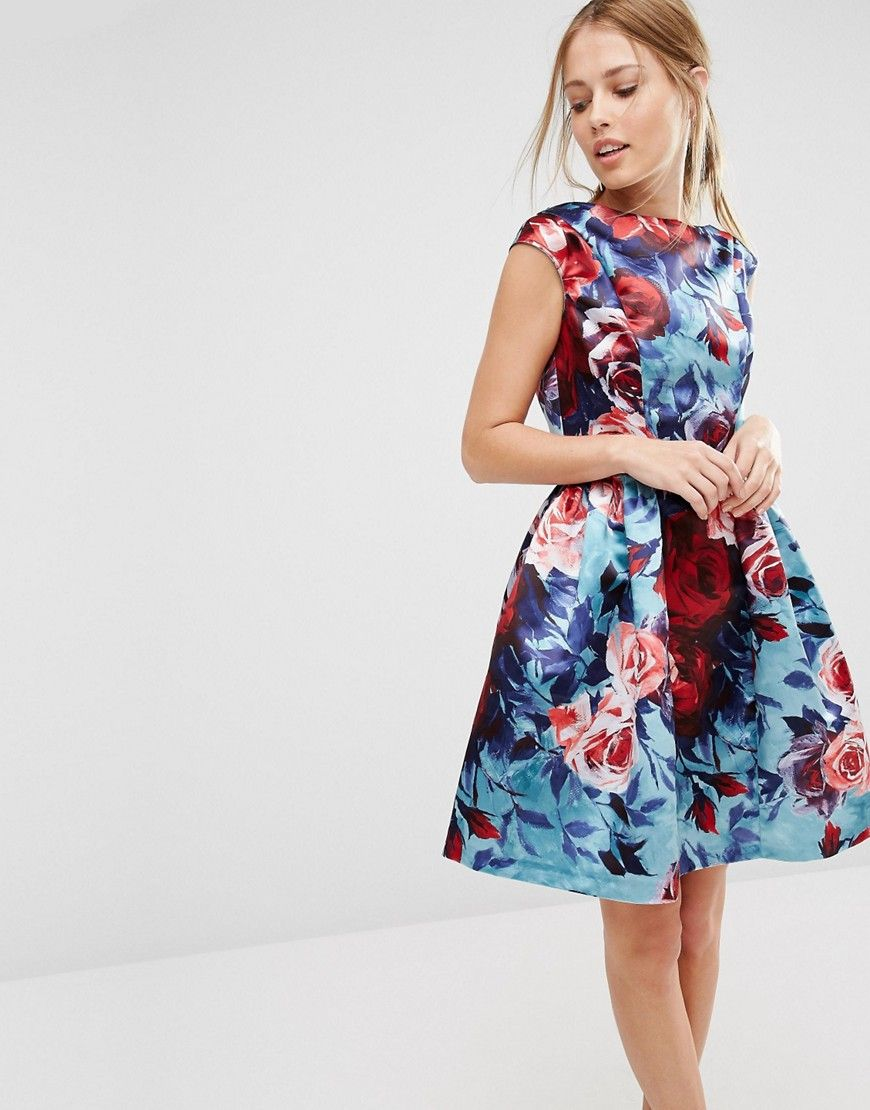 Closet Satin Floral Print Sleeveless Skater Dress  be5229c7d