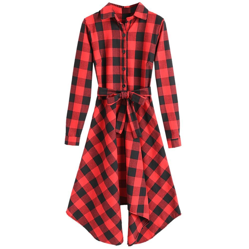 Plaid long sleeve belted shirt dress vÁy kẺ pinterest