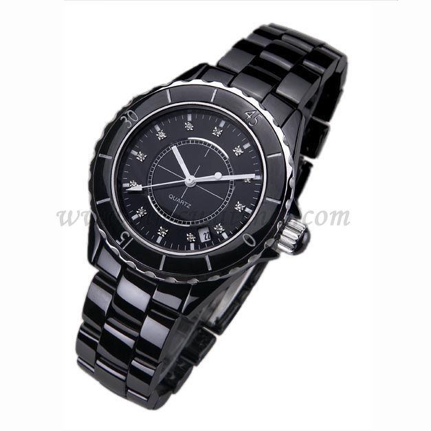 black ceramic watch