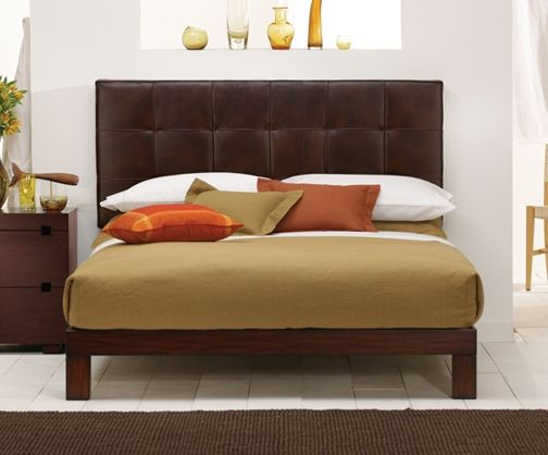 Madera Platform Bed Vintage Brown Leather Headboard