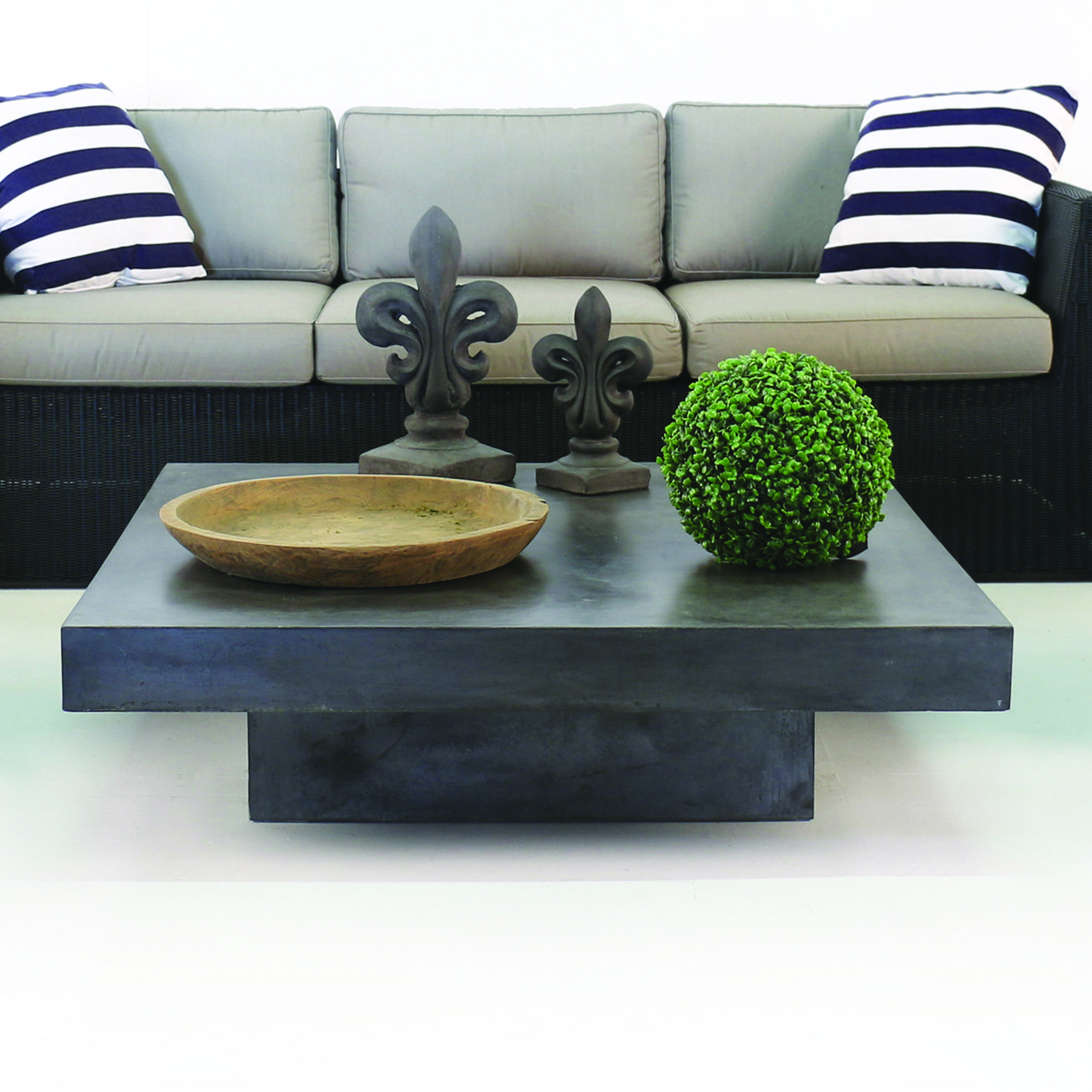 accessorize with a raw concrete coffee table the low profile of