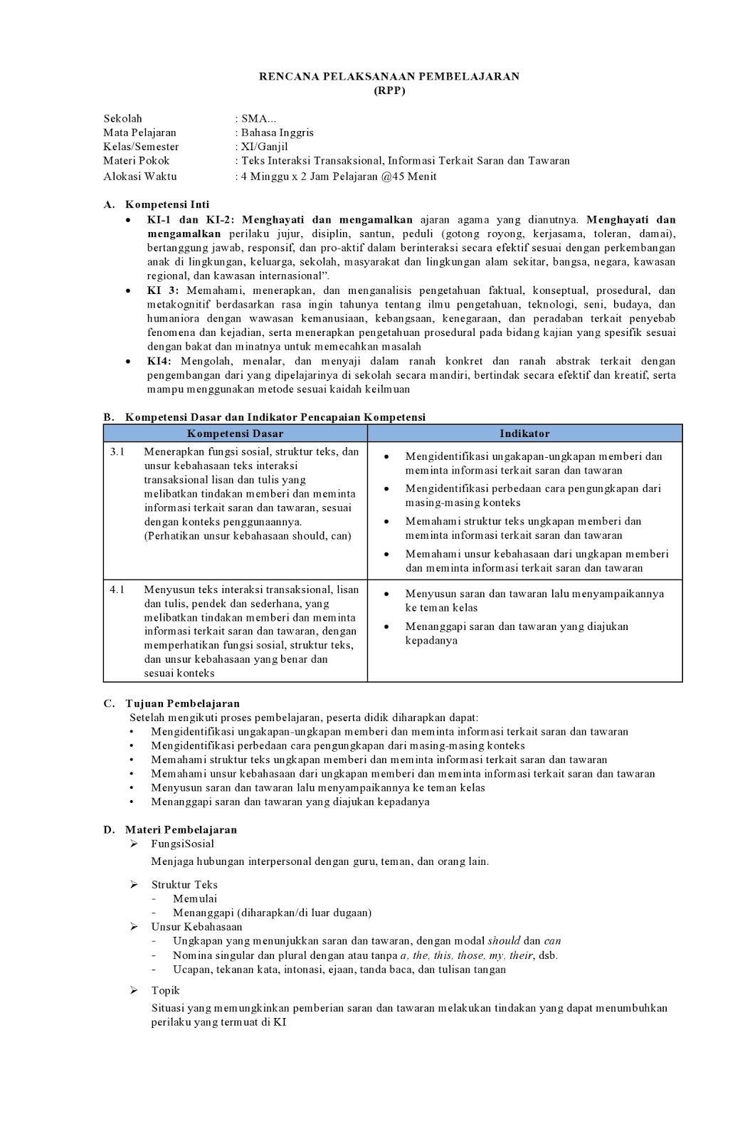 Rpp K13 Bahasa Inggris Kelas Xi Sma Sederajat Revisi Bahasa Pelajaran Bahasa Inggris Teks
