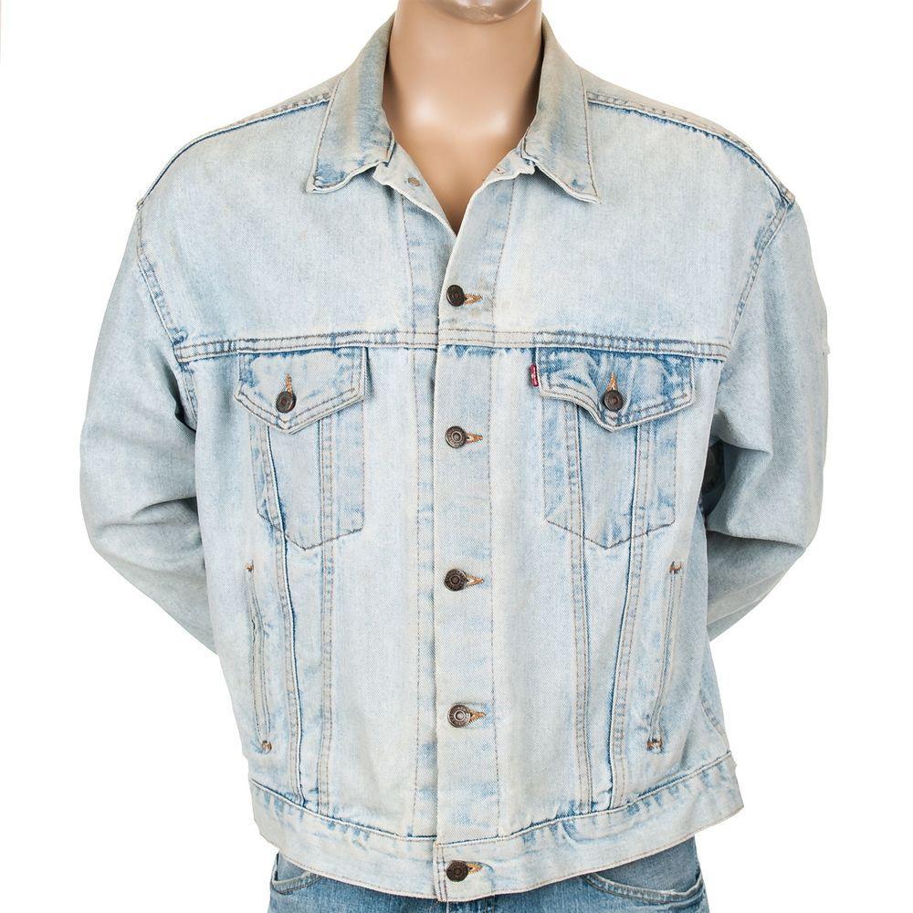 Vintage Levis Denim Jean Jacket Usa Made Light Wash Trucker Distressed Mens L Levistraussco Jeanjacket Den Outerwear Fashion Outerwear Jackets Coats Jackets [ 1000 x 1000 Pixel ]