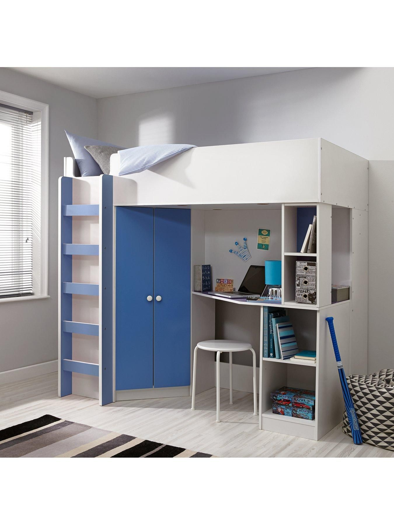 Kidspace new metro high sleeper bed with desk wardrobe shelves and