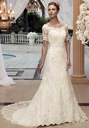 e3843648254 Gown features detachable lace overlay. Silhouette  A-Line Neckline   Sweetheart Waist  Empire Gown Length  Floor Sleeve Length  Short Train  Style  Attached ...