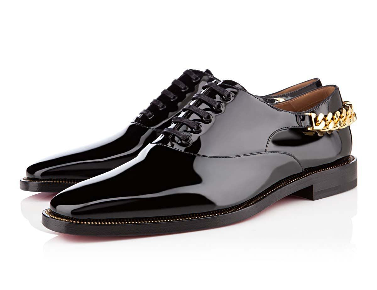 Christian Louboutin Stage Flat Oxford Shoe Is Strapped With A Gold Cuban  Link Chain