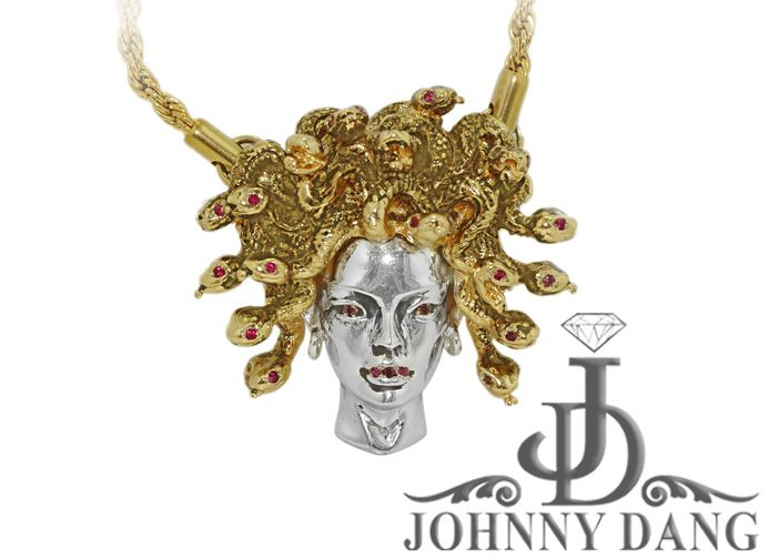 White And Yellow Gold Medusa Pendant on Rope Chain