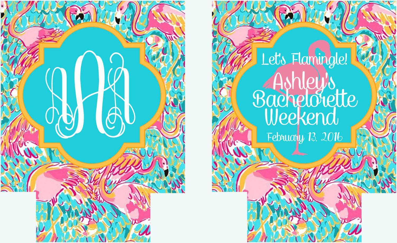 Bachelorette Flamingle Beverage Huggers. Flamingo Party Coolies. Monogram Flamingo Bachelorette Party Favors. Flamingle Party Favors! by BrantPointPrep on Etsy https://www.etsy.com/listing/265338630/bachelorette-flamingle-beverage-huggers