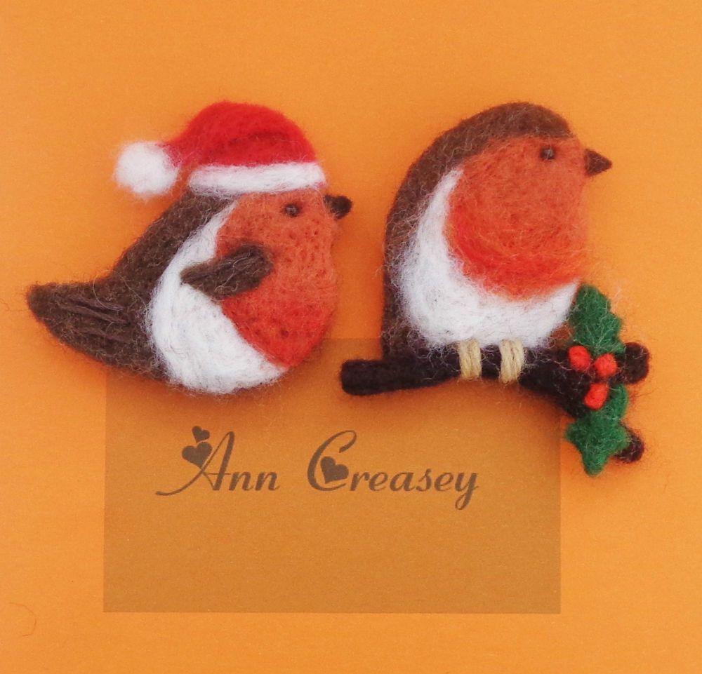 Needle Felted Christmas Robin Brooch x 1 - Handmade Christmas Gift ...