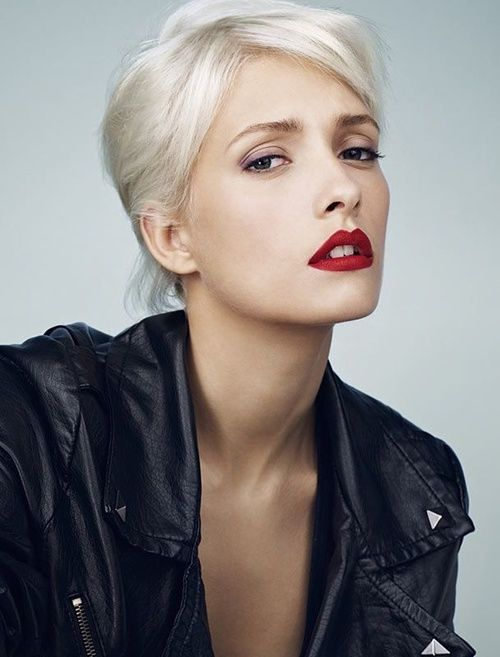 White Hair Pale Skin Red Lips Short Silver Hair Platinum Blonde Hair Hair Beauty