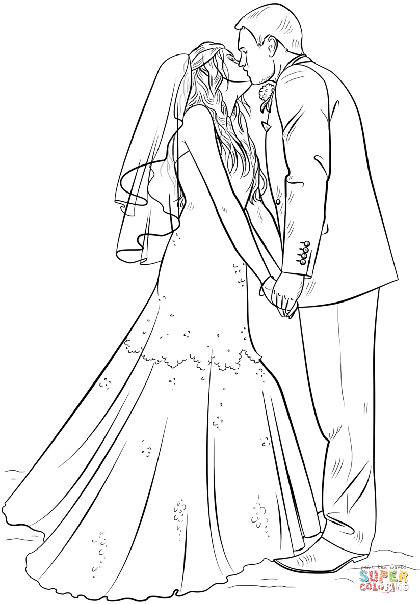 Bride and Groom Super Coloring Wedding coloring pages