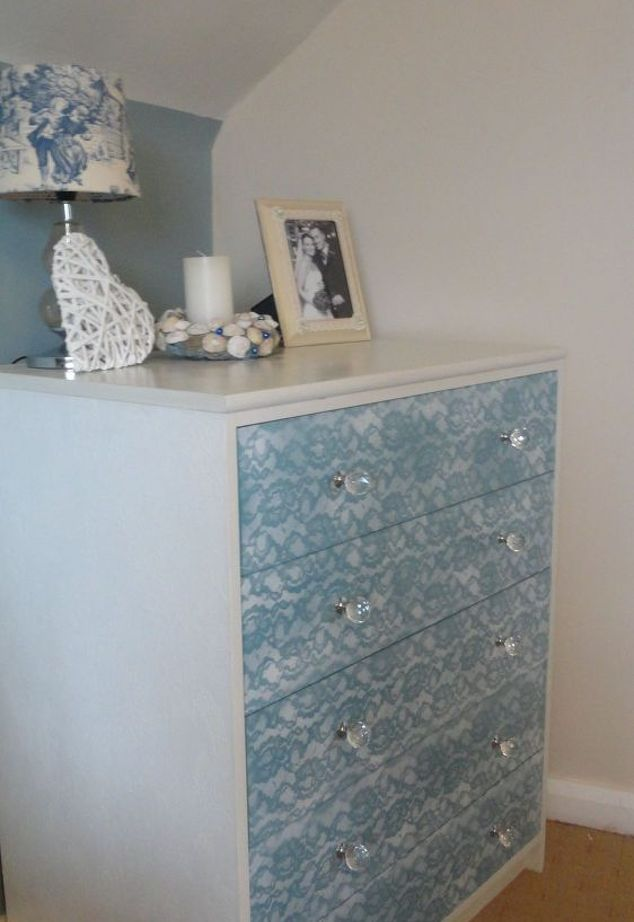 lace painted chest of drawers update an old piece lacepainting, painted furniture, repurposing upcycling