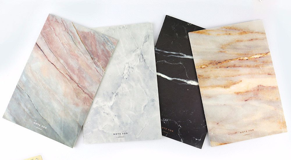 Set of 2 Marble Print Soft Cover A5 Notebook Diary Journal Writing Stationery