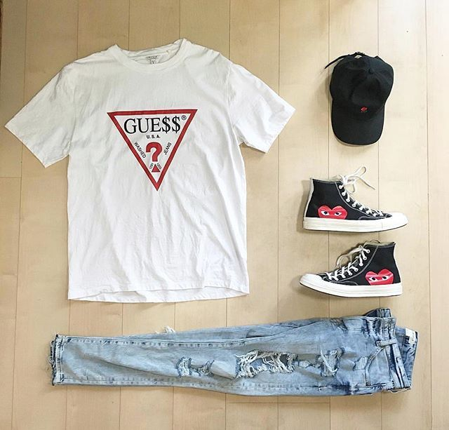 cd272e3114b2 i.i mensfashion  outfit  ootd   Guess   HM   Commedesgarcons x  Converse WDYWT  for on-feet photos WDYWTgrid for outfit lay down photos•