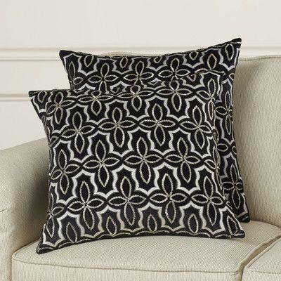 House of Hampton Chagford Cotton Throw Pillow Color: Silver / Black