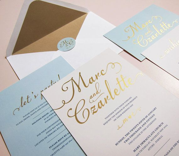 Gold Foiled Wedding Invitation In Light Blue Simple And Etsy Gold Foil Wedding Gold Wedding Invitations Gold Foil Wedding Invitations