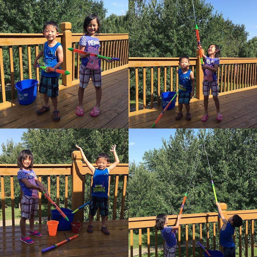 Today's results: Audrey broke two water guns and Wesley broken zero. Clearly you know who plays rougher... #onthedeck #hotsummer #waterguns #watergunfights #siblings #siblinglove #raining #familytime #familyfun #weekend #weekendstyle #weekendfun #parenting #parentkids