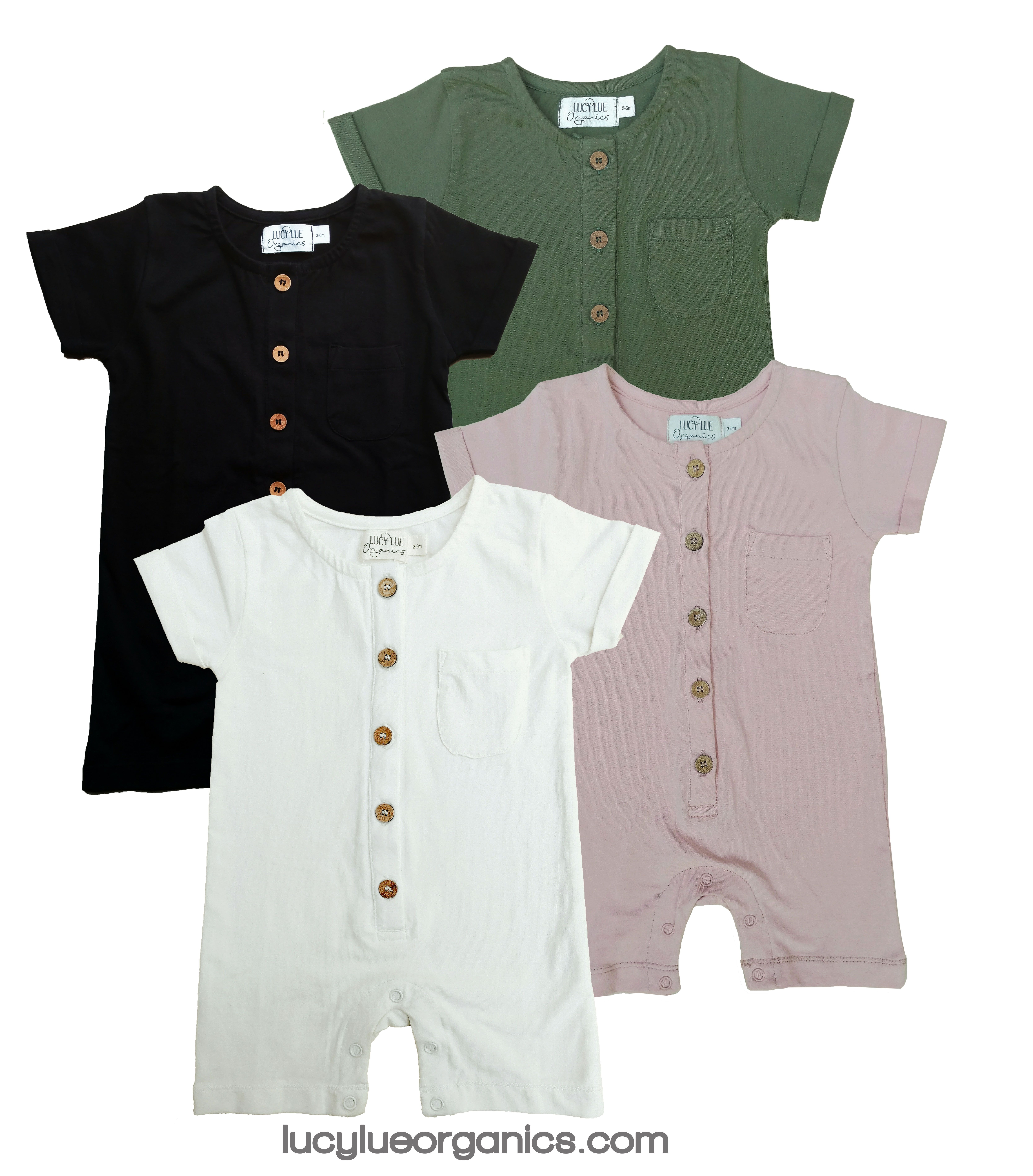 e528ef66f Organic cotton summer wear by Lucy Lue Organics. Short baby rompers.  Neutral colors. For the best in modern organic baby wear, shop  lucylueorganics.com.