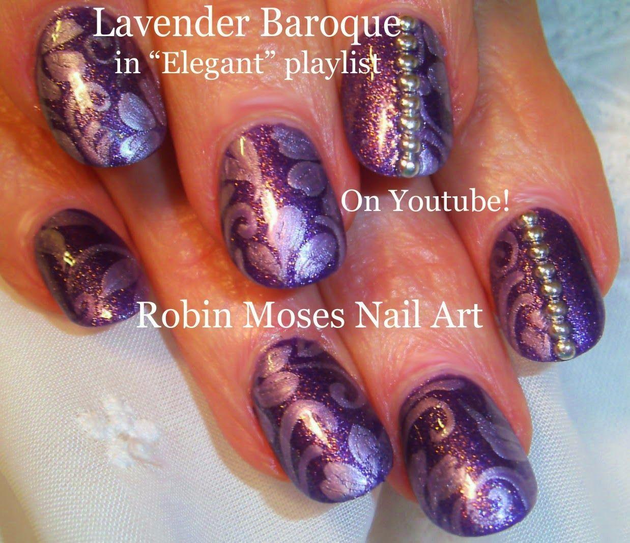 Fall Nails Fall Nail Art Baroque Nails Damask Nails Lavender