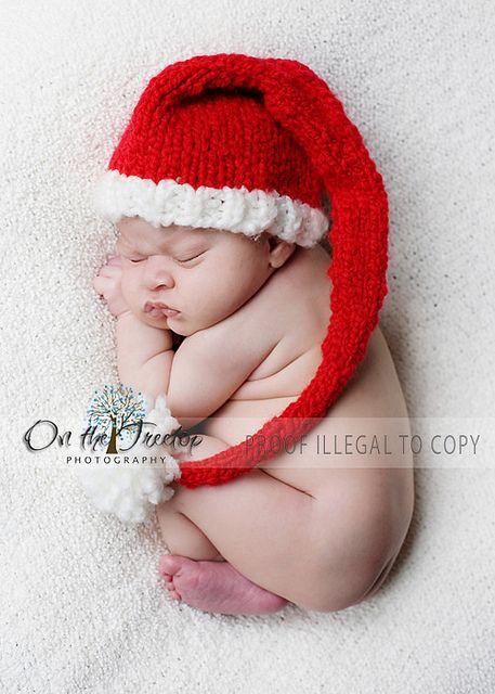 Custom Knit Red and White Long Stocking Christmas Santa Hat with ... c2d1eeeda3da
