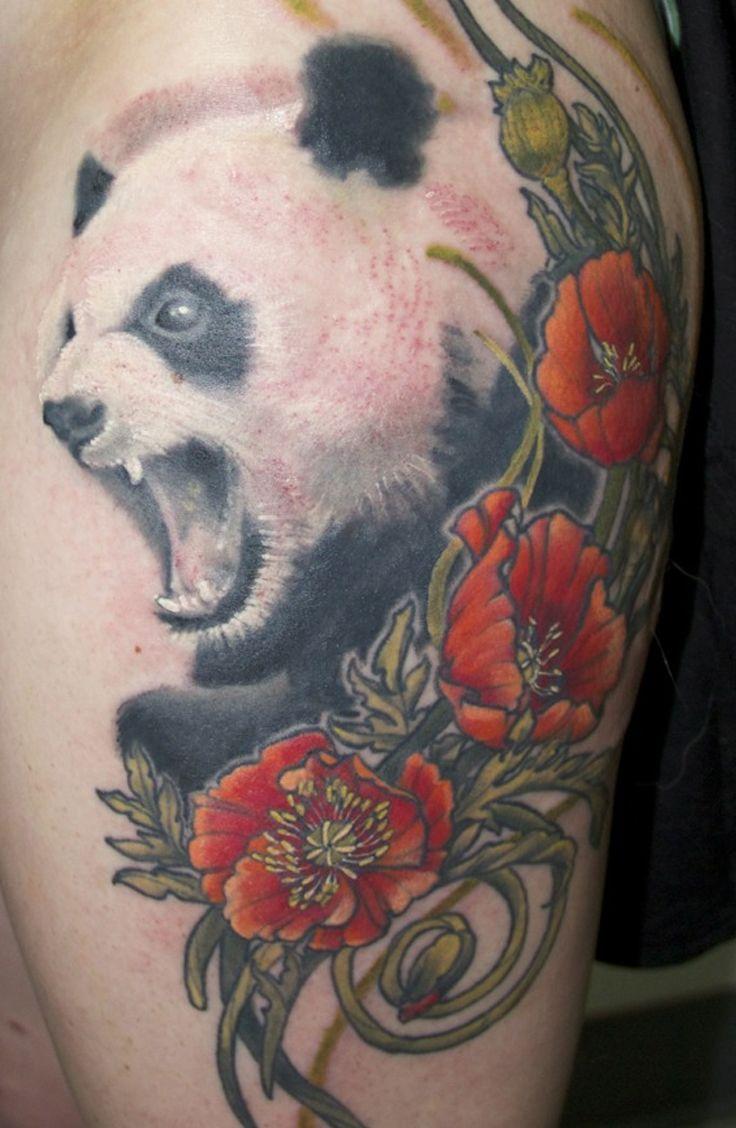 mouth open panda tattoos panda tattoo tat ideas pinterest panda tattoo. Black Bedroom Furniture Sets. Home Design Ideas
