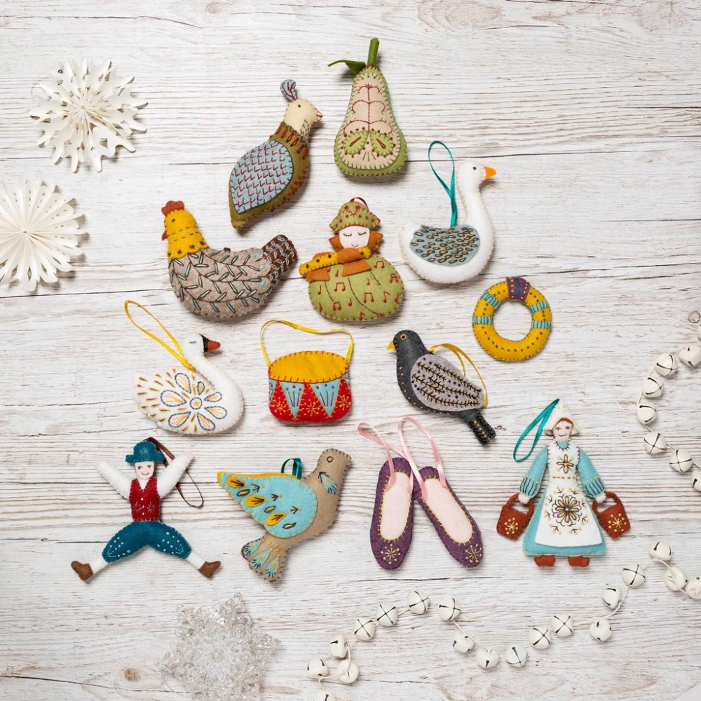 12 Days Of Christmas Felt Kits The Whole Set Felt Ornaments Felt Crafts Kits Felt Crafts