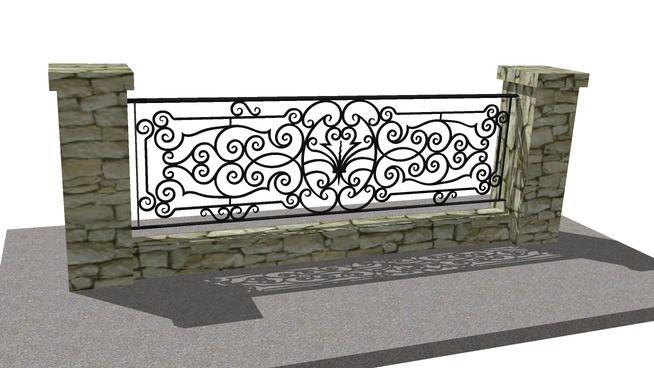 3D Warehouse - View Model | Wrought iron railing, Iron ...