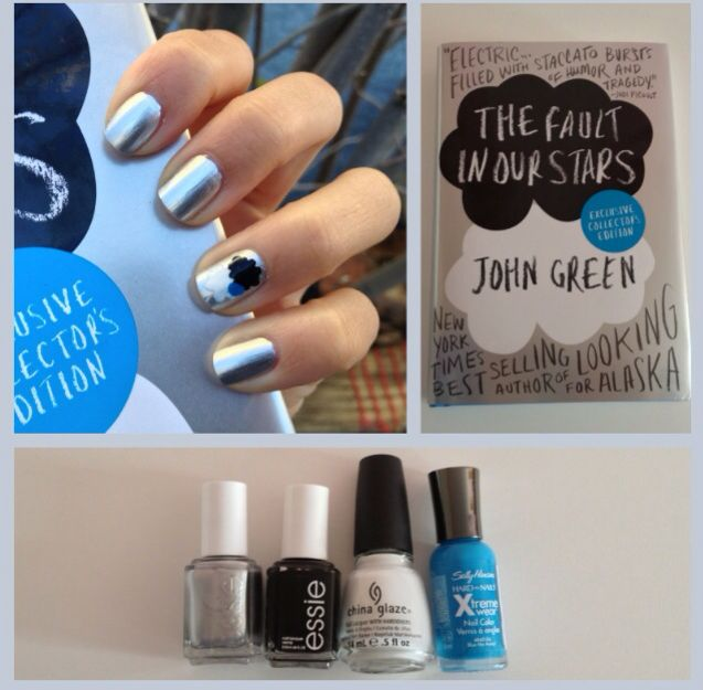 Fault in our stars nails ❤️⚪️⚪️⚪️