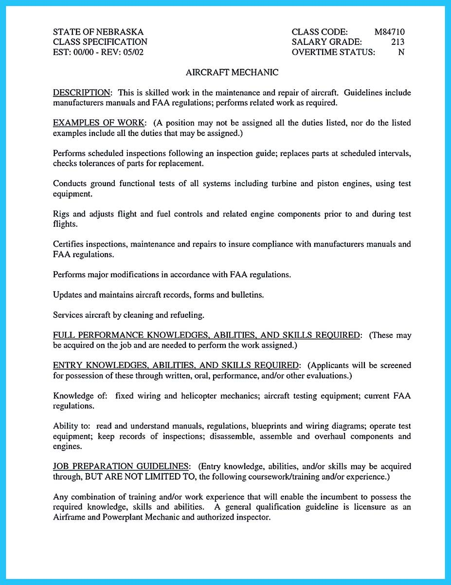 Guidelines For A Resume Best Aircraft Technician Resume When You Want To Seek A Job In Aircraft .
