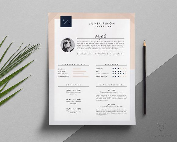 Resume Template + Cover Letter By This Paper Fox On