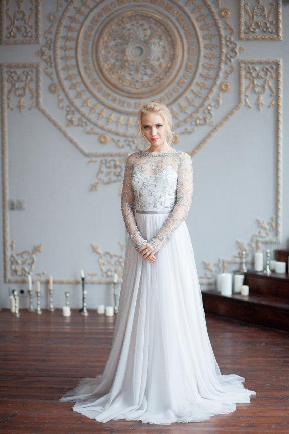 Grey lace wedding dress \'VERA\' / Wedding dress with long sleeves ...
