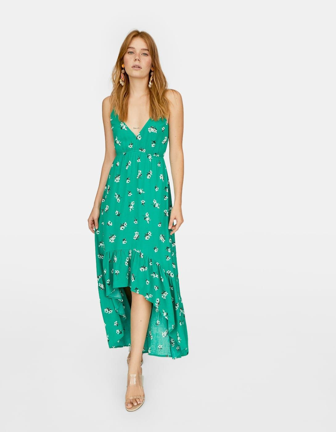 Ruffled Strappy Dress Just In Stradivarius United Kingdom Strappy Dresses Dresses Ruffle Dress [ 1400 x 1090 Pixel ]